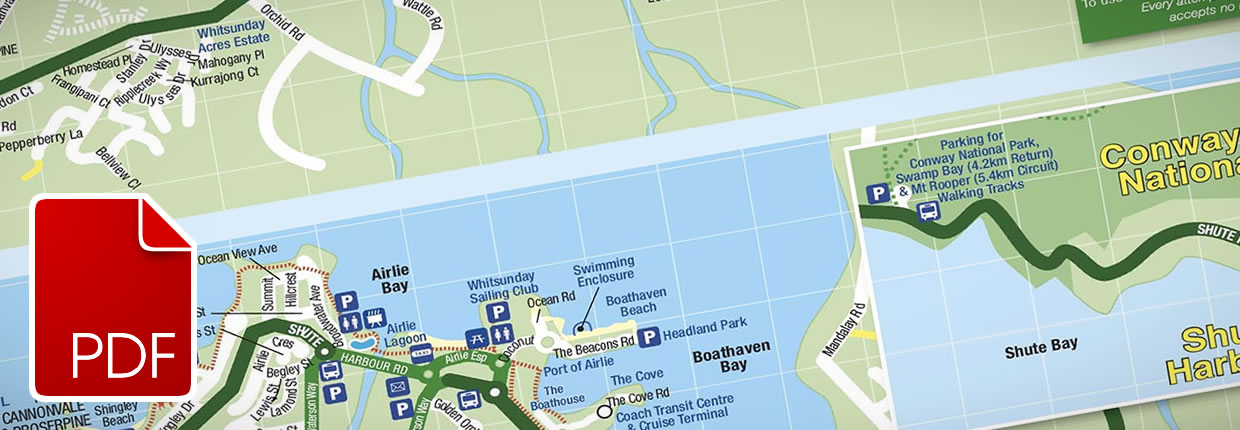 Download Airlie Beach, Cannonvale, Jubilee Pocket and Shute Harbour Map PDF